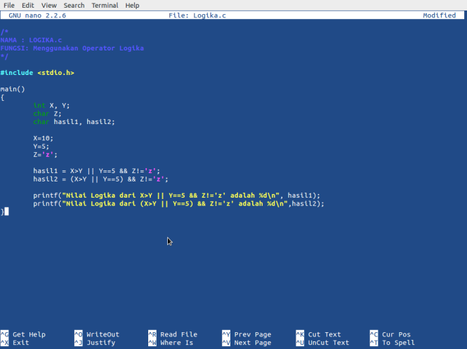 Screen Kode Program Logika.c